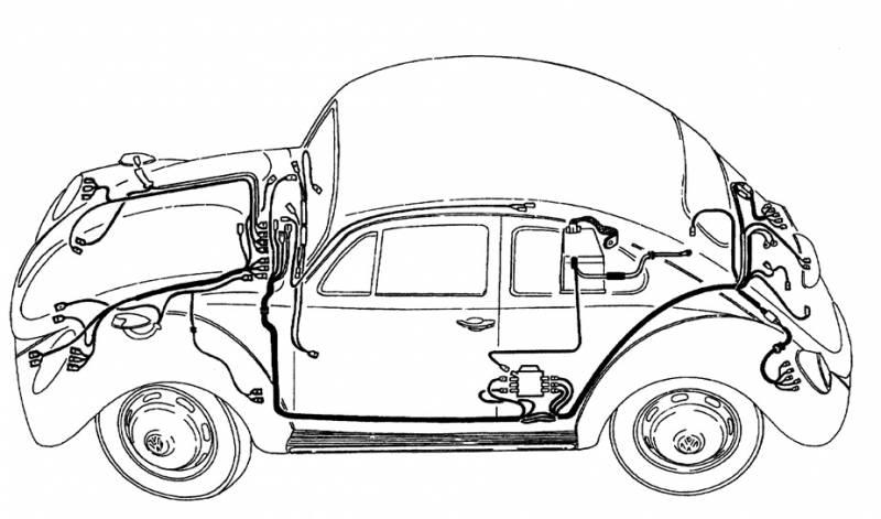 complete wiring harness  bug super beetle sedan  u0026 conv  1972  handmade in usa
