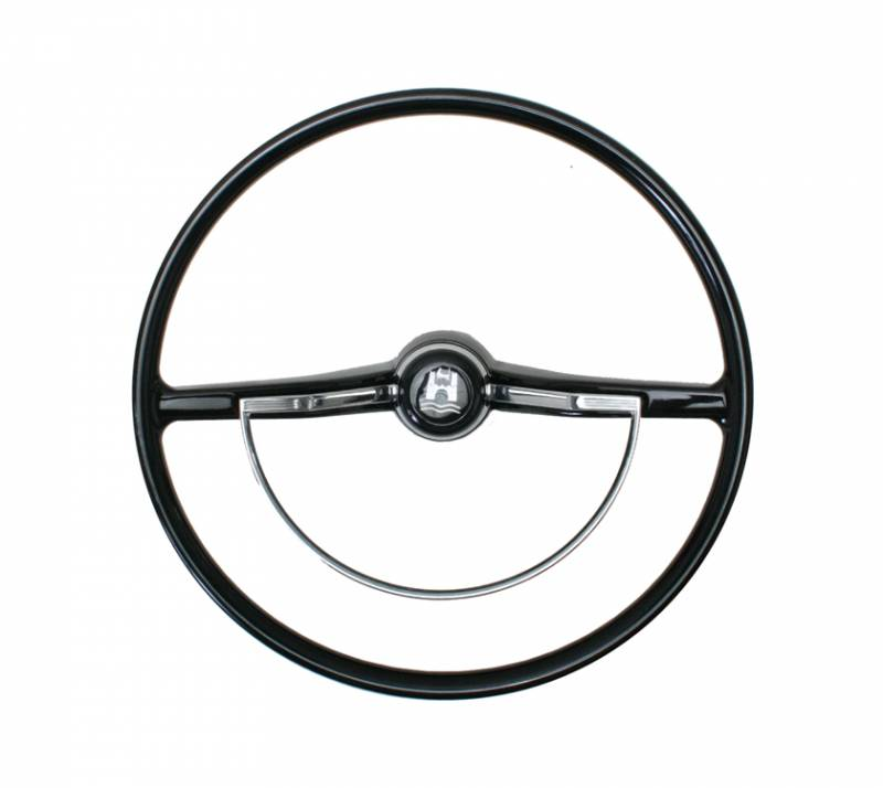 steering wheel  black with horn button and ring  bug