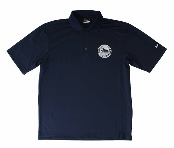 POLO-L POLO SHIRT, LARGE, NAVY BLUE NIKE DRI-FIT WITH SILVER LOGO (Limited Edition)