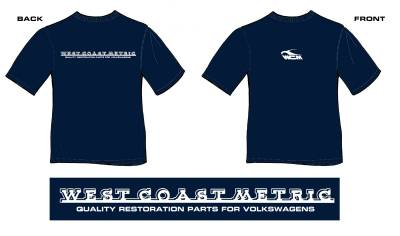 REPAIR BOOKS, STICKERS & T-SHIRTS - T-Shirts - 111-0179L T-SHIRT, LARGE NAVY, WEST COAST METRIC SCRIPT, SOFT COTTON