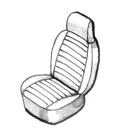 Seat Covers & Padding - Bug/Ghia Convertible Seat Cover Sets (Basket & Squareweave) - 153-052V-GY