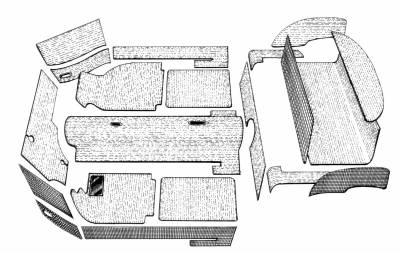 Carpet Kits & Floor Mats - Ghia Sedan 20 Piece Carpet Kits - 143-7374-BK-C