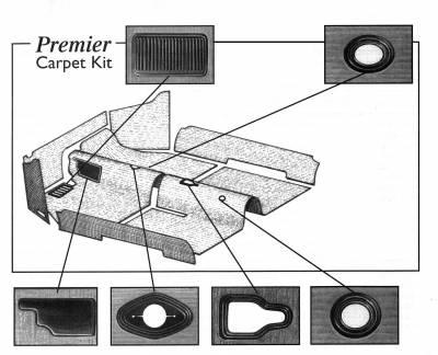 Carpet Kits & Floor Mats - Bug Convertible 7/9 Piece Kits & Kick Panels - 151-5861-BK-C