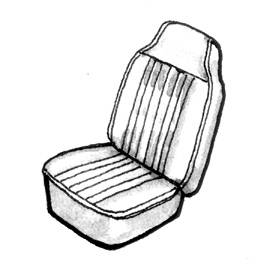 Seat Covers & Padding - Bus/Type 3 Front Seat Covers (Smooth) - 311-807V-BKS