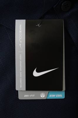 POLO-L POLO SHIRT, LARGE, NAVY BLUE NIKE DRI-FIT WITH SILVER LOGO (Limited Edition) - Image 2