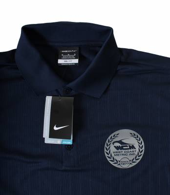 POLO-L POLO SHIRT, LARGE, NAVY BLUE NIKE DRI-FIT WITH SILVER LOGO (Limited Edition) - Image 3